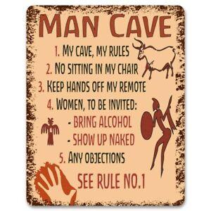 Man Cave Rules - Metal Sign | Funny Bedroom, Gaming Room Door Decor