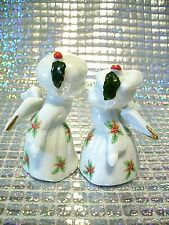 *Super Rare* Vtg Christmas Kissing Angels Boy Girl Holly Gold Trim Figurine Set