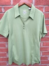 NWT CUTTER AND BUCK Women Golf Polo Shirt Green Dry Tec Luxe V Neck Size Large