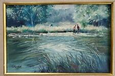 VINTAGE LANDSCAPE SIGNED OIL PAINTING by M. STOFFA LISTED ROCKPORT ARTIST