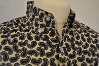 "Mod / 1960s style paisley shirt - blue and beige size L 42"" Pop Boutique BNWT"