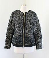 Chico's Black Gold Patchwork Tweed Metallic Zip Front Blazer Jacket Chicos Sz 1