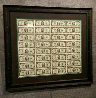 CUSTOM black FRAME DOUBLE MAT FOR 1, 2, 5, 20 bill 32 Uncut Sheet of Money