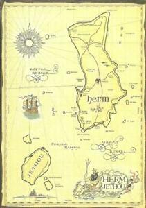 THE ISLANDS OF HERM & JETHOU, CHANNEL ISLANDS (COLOUR PRINTED MAP POSTCARD)
