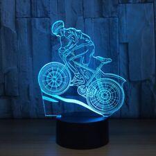 3D Mountain Bike Rider Night Light 7 Color Change LED Desk Lamp Touch Decor Gift