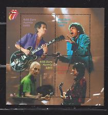 "Austria, MNH Souvenir sheet w/4 stamps, issued 2003 scott# 1924 ""Rolling Stones"""