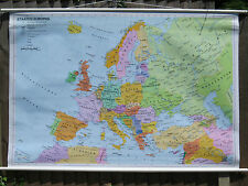 COLOURFUL PULL DOWN GEOGRAPHICAL SCHOOL WALL MAP OF EUROPE CIRCA 2000