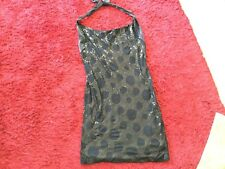 Dress Black Halter Neck Jersey Sequins V Stretchy Size 14 Charlie Brown New