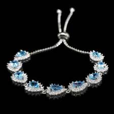 7 Ct Pear Aquamarine & Sim Diamond Halo Tennis Link Bracelet 14k White Gold Over