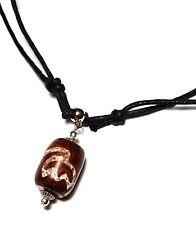 Dzi Perle Collier Ras Du Cou Pierre Agate Réglable Tibétain Amulette Bouddha