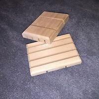 (2) Wooden Soap Dishes - Natural Cedar - Small/Medium
