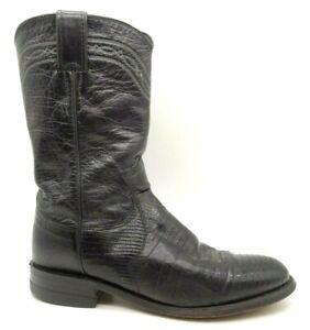 Justin Black Lizard Skin Leather Cowboy Western Roper Boots Shoes Women's 5.5 B