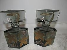 2 Vintage Smoked Glass Perfume Cologne Scent Bottles Gold Enamel Flowers As Is