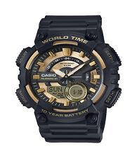 Casio Men's Quartz World Time Gold & Black Resin 100mm Watch Aeq110bw-9av Cas122