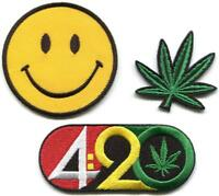 420 smiley face pot leaf marijuana hippie lot of 3 appliques iron-on patches