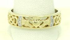 14K Yellow Gold 6 Diamond Claddagh Ring Size 12.5 6.3mm 6.6 Grams M1547