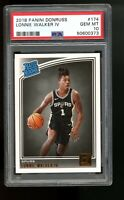 2018 Panini Donruss #174 Lonnie Walker IV Spurs Rated Rookie Card RC PSA 10