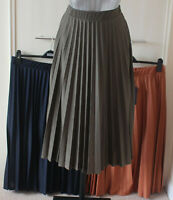 M&S Size 6 14 16 18  Pull On Lined Pleated Jersey Midi Skirt Navy Khaki Cinnamon