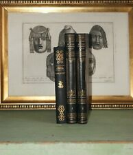 3 DECORATIVE OLD LEATHER BOOKS - DARK BLUE LEATHER - GOLD DECOR - FREE SHIPPING