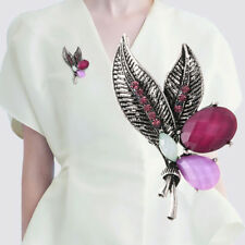 Vintage Tibetan Silver Crystal Rhinestone Flower Collar Brooch Pin Jewelry np