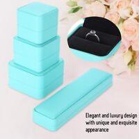 Blue Leather Jewelry Box Necklace Pendant Ring Bracelet Bangle Storage Case