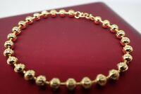 18K Yellow gold  solid Beaded bead Children Baby bracelet 6' 16cm