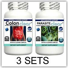 3 Set parassita CLEANSER pillola Detox Colon Fegato Purificare Flush Pulizia Intestino Digestione