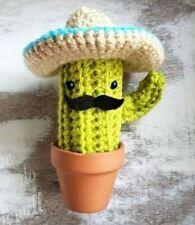 New listing Cactus Mustache and Sombrero Hat Cactus Amigurumi Mini Succulent Crochet Plant