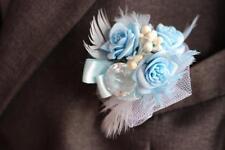Marriage & PROMO boutonnière, bleu clair, roses, cristal