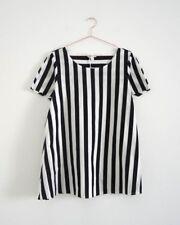 HOF115: COS Top bluse baumwolle streifen / A-line cotton top striped raw edges S