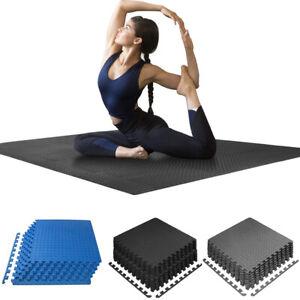 Heavy Duty Interlocking EVA Foam Gym Flooring Mat Tiles 60X60CM Black Grey Blue