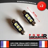 2 Ampoule Navette LED C5W 39mm ANTI SANS ERREUR CANBUS Plafonnier Plaque 6000k