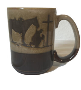 Praying cowboy With Horse 16oz oversized Coffee Mug Western Moments Tan & Brown