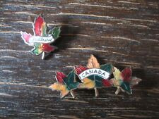 Souvenir Andenken Kanada Canada Indian Summer 2 Brosche Emaille emailliert antik