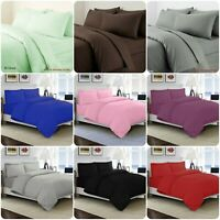 Plain 100% cotton Duvet Cover Quilt Bedding Set Pillowcase Single Double King