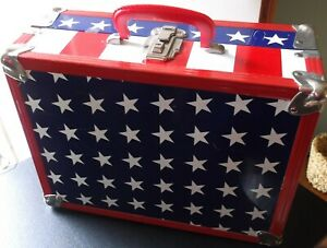 VINTAGE (1970's) Patriotic METAL SUITCASE - stars and stripes, RED WHITE BLUE!!
