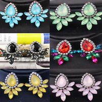 1 pair  Fashion Elegant Crystal Rhinestone Ear Clip Stud Dangle Drop  Earrings