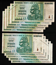 10 x 50 Million Zimbabwe Dollars Bank Notes AA 2008 Currency Lot 10PCS Low Price