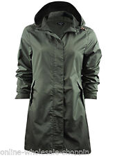 Ladies Raincoat Womens Brave Soul Jacket Fishtail Waterproof Parka Plain Hooded
