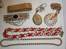 Vintage Goldtone Jewelry, Beads, Enamel, Locket, Mesh Bracelet, Lot