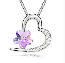 Fashion Jewelry Silver Plated purple Crystal Pendant Heart Charm Necklace
