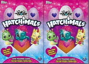 (2) 2018 Topps HATCHIMALS Trading Cards HANGER Box LOT = 1 Mini Album Per Box