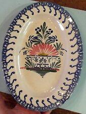 Ancien Plat Ovale fait Main Vintage 22 x 31 x 3,3 cm  marqué 1 / 2 décor floral
