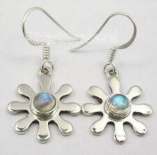 925 Silver FLOWER Earrings MOONSTONE, AMETHYST & Other Many Gemstones Variations