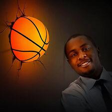 Hot 3D Basketball Deco Wall Led Night Light Crack Sticker Kids/Sports Room Decor