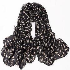 Cat Print Scarf Celebrity Fashion Shawl Scarves WRAP Ladies Animal Soft BLACK
