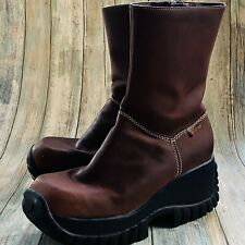 Rocket Dog Brown Leather Chunky Rubber Bottoms Platform Mid-Calf Boots Ladies 8