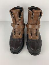 VTG Polo Ralph Lauren Boots Military Brown Leather Men's 13D ZIP Up Buckle