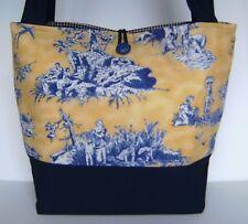 YELLOW GOLD NAVY BLUE TOILE BAG PURSE TOTE HANDBAG HOMEMADE OLD WORLD CHARM