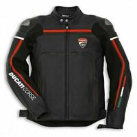 Brand New Ducati Corse Black Motorbike Leather Jacket CE Approved Armour